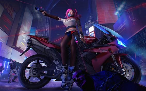 Wallpaper Pink hair girl, motorcycle, gun, night, city