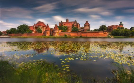 Wallpaper Poland, Malbork, Marienburg Castle, river, fence
