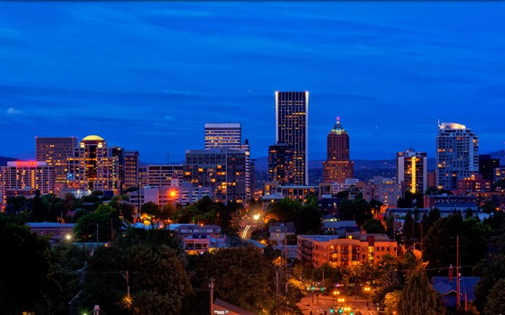 Wallpaper Portland, USA, city, skyscrapers, night, lights