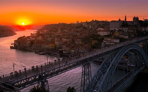 Wallpaper Porto, Portugal, city, river, bridge, sunset