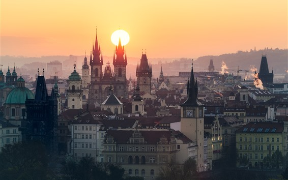 Wallpaper Prague, Czech Republic, city, buildings, sunrise, morning