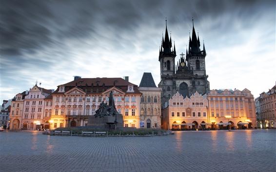 Wallpaper Prague, Czech Republic, city, square, buildings, statue