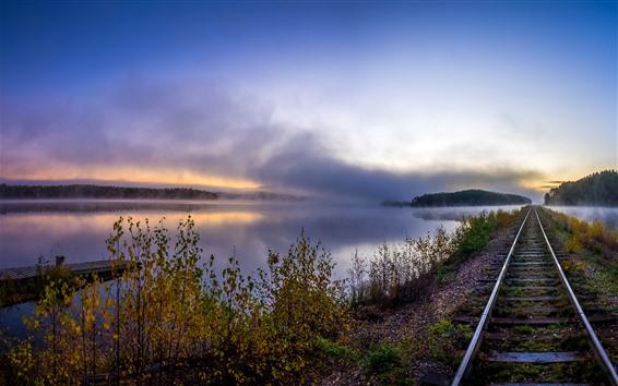 Papéis de Parede Ferrovia, rio, nevoeiro, manhã