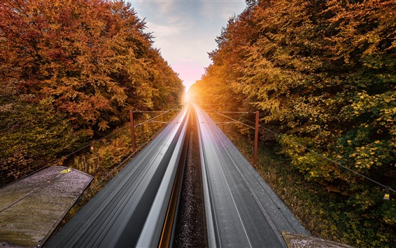 Wallpaper Railroad, speed, trees, sunset
