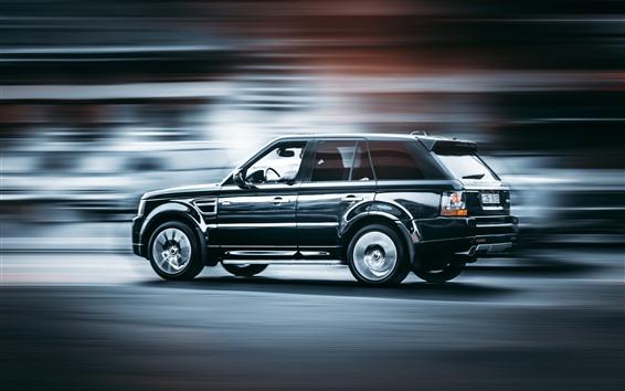 Обои Range Rover черный внедорожник вид сбоку, скорость