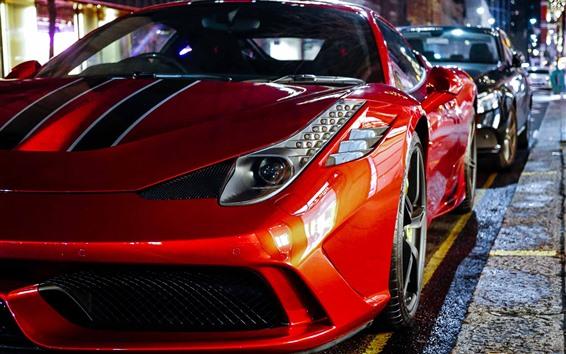 Papéis de Parede Supercarro vermelho da Ferrari, noite