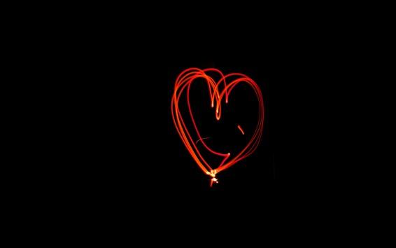 Papéis de Parede Linhas de luz coração vermelho amor, fundo preto