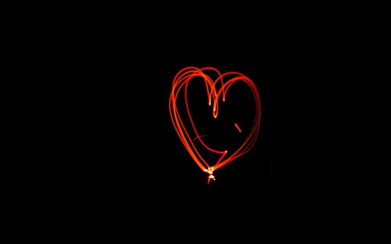 Wallpaper Red love heart light lines, black background