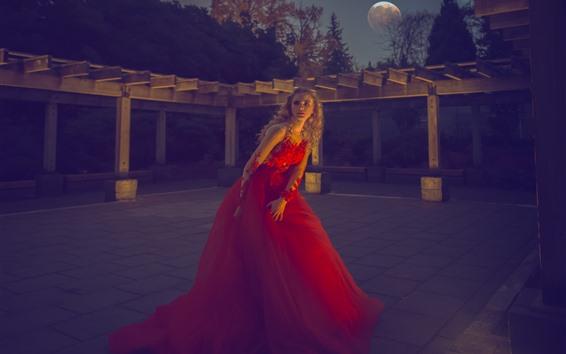 Wallpaper Red skirt girl, blonde, moon, night