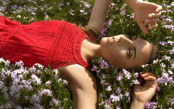 Wallpaper Red skirt girl lying on flowers, sunlight