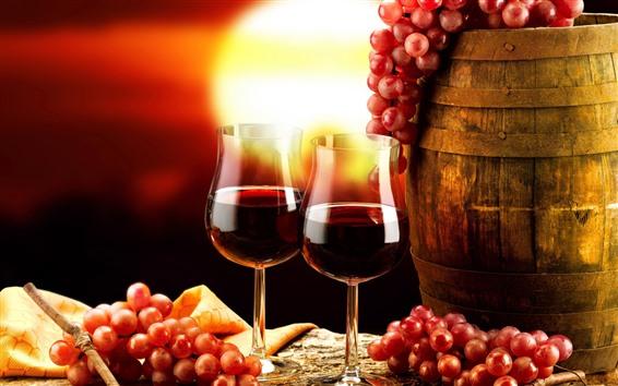 Papéis de Parede Vinho tinto, copos de vidro, uvas, barril