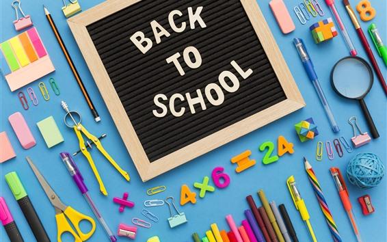Wallpaper School study accessories, pencil, scissors, pen, numeric