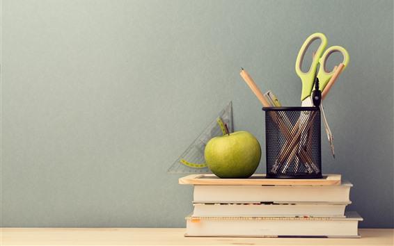 Wallpaper Scissors, pencil, book, apple, still life