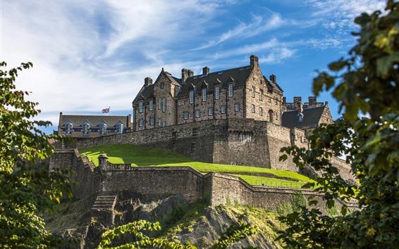 Wallpaper Scotland, Edinburgh Castle, blue sky