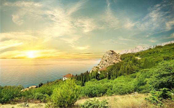 Fond d'écran Mer, côte, pente, arbres, maisons, coucher de soleil
