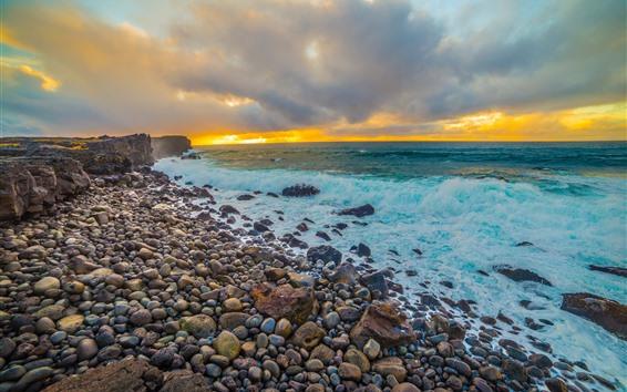 Wallpaper Sea, coast, stones, cobblestone, water, foam