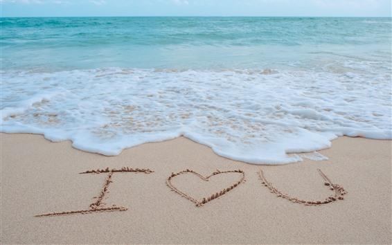 Wallpaper Sea, foam, beach, I Love You