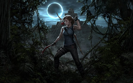 Wallpaper Shadow of the Tomb Raider, Lara Croft, night, moon