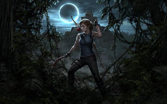 Fondos de pantalla Shadow of the Tomb Raider, Lara Croft, noche, luna