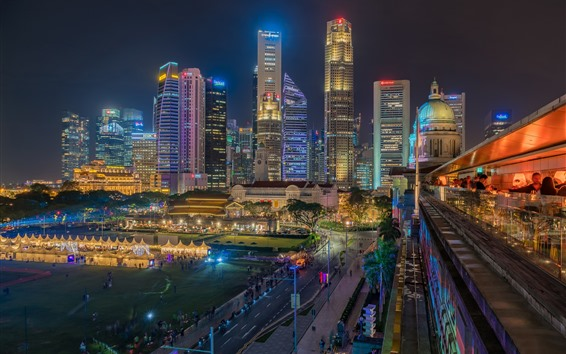 Papéis de Parede Distrito financeiro de Singapura, arranha-céus, cidade, noite, luzes