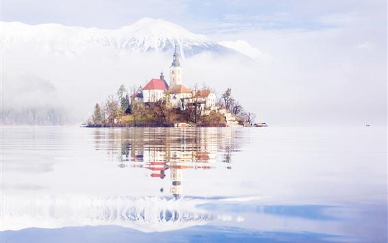 Wallpaper Slovenia, lake, island, church, mountains, snow, water reflection