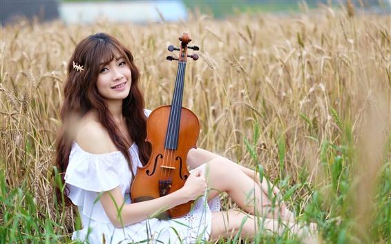 Wallpaper Smile Asian girl, violin, wheat field