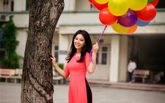 Wallpaper Smile Chinese girl, long hair, balloons