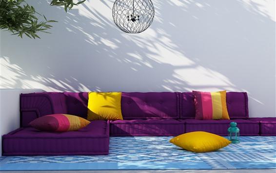 Wallpaper Sofa, colorful cloth