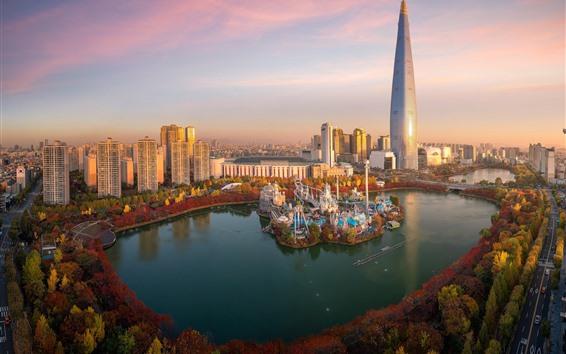 배경 화면 남한, 롯데 월드, 남산 서울 타워, 고층 빌딩, 호수