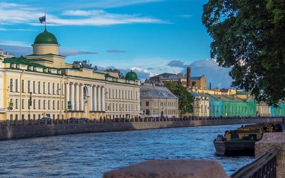 Papéis de Parede São Petersburgo, rio, casas, árvores