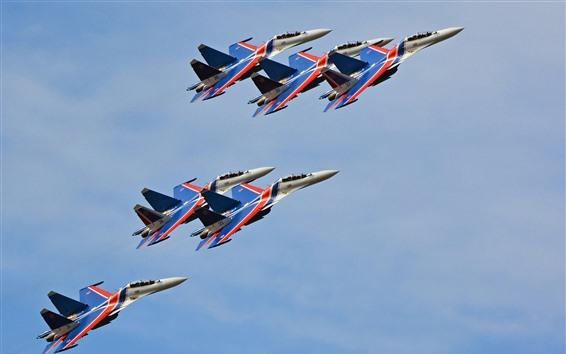 Wallpaper Su-30CM multi-role fighter, flight show