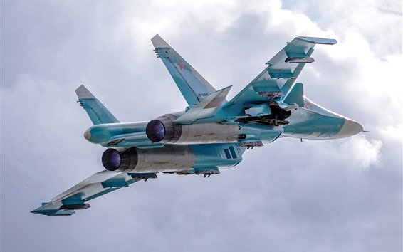 Wallpaper Su-34 fighter, bomber, flight, sky, clouds