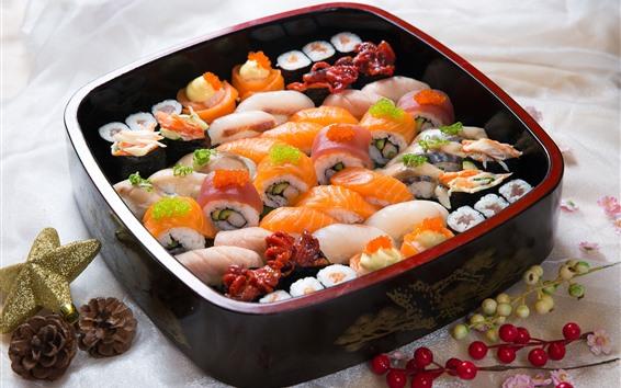 Papéis de Parede Sushi, caviar, pãezinhos, comida japonesa