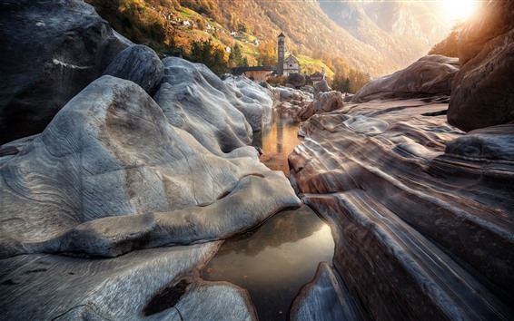 Обои Швейцария, Лавертеццо, скалы, ручей, деревня