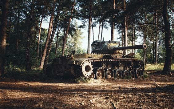 Papéis de Parede Tanque, arma, árvores, floresta
