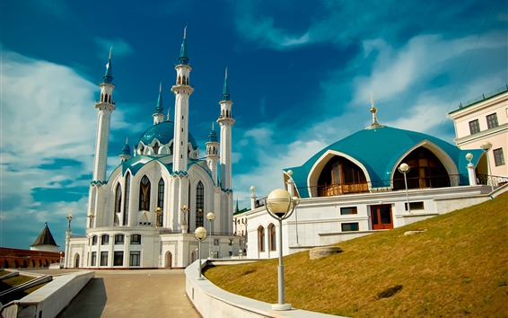 壁紙 タタルスタン、カザン、モスク、青空