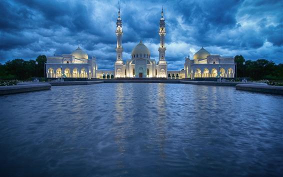 壁紙 タタルスタン、モスク、水、雲、ライト、夜