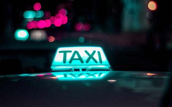 Fond d'écran Lumière de taxi, nuit