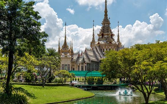 Fond d'écran Temple, thaïlande, arbres, jardin
