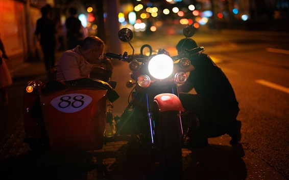 Wallpaper Three-wheeled motorcycle, front lights, night
