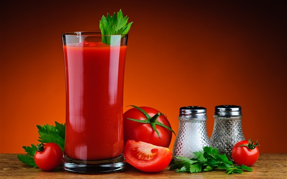 Wallpaper Tomato juice, drinks, glass cup, red