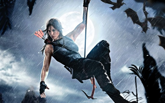 Wallpaper Tomb Raider, Lara Croft, rope, rainy, moon, night