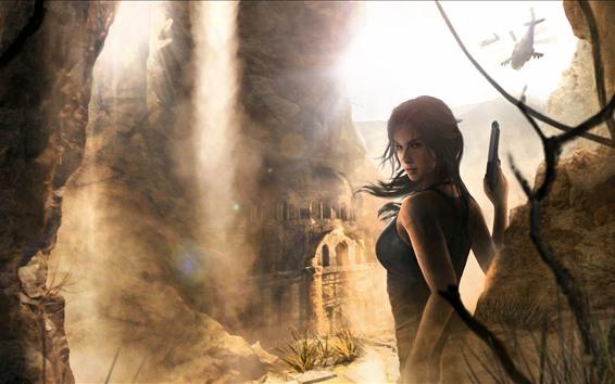 Fondos de pantalla Tomb Raider, Lara Croft, ruinas, helicóptero