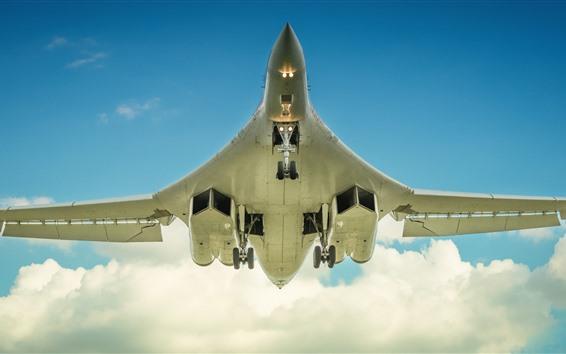 Wallpaper Tupolev Tu-160 bomber, swan, flight, sky