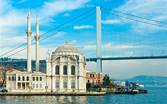 Wallpaper Turkey, Istanbul, mosque, bridge, river