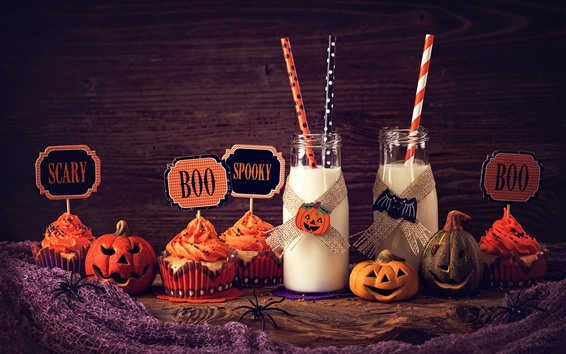 Papéis de Parede Duas garrafas de leite, cupcakes, abóbora, Halloween