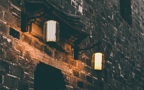 Wallpaper Two lanterns, lights, night, wall