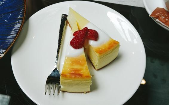 Wallpaper Two slices of cake, dessert