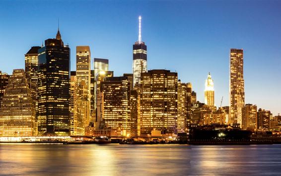 Wallpaper USA, Manhattan, New York, city at night, skyscrapers, illumination, river