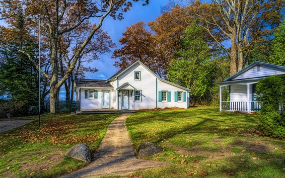 Wallpaper USA, Michigan, Leland, house, trees, lawn